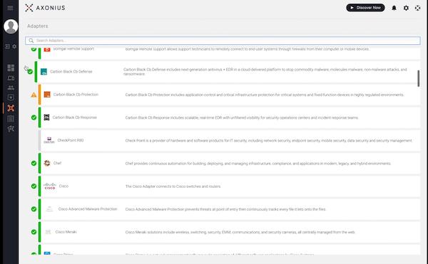 Axonius adapter list screenshot