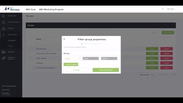 Mentoring Software participant groups