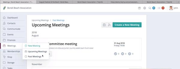 TidyHQ upcoming meetings