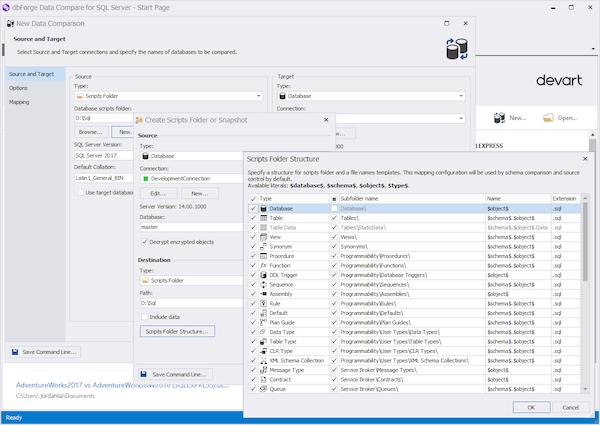 dbForge Data Compare for SQL Server scripts folder screenshot