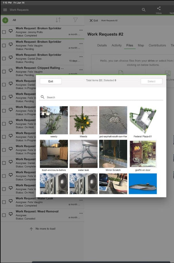 Common Areas - Common Areas work requests screenshot