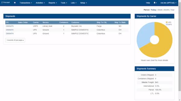 Pacejet shipments screenshot