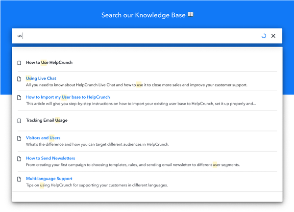 HelpCrunch knowledge base
