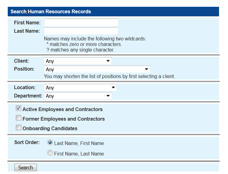 Search human resource records