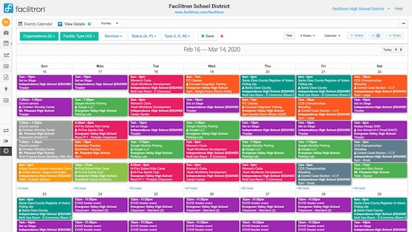 Facilitron reservation and booking management calendar