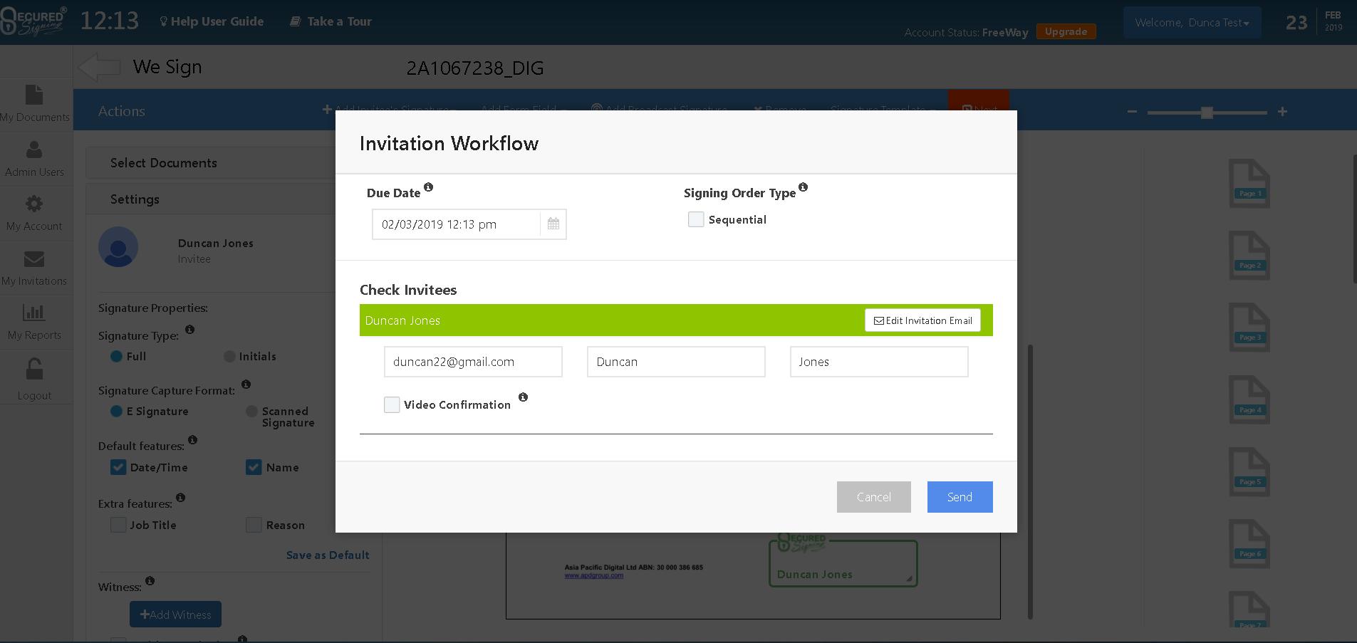 Invitation workflow