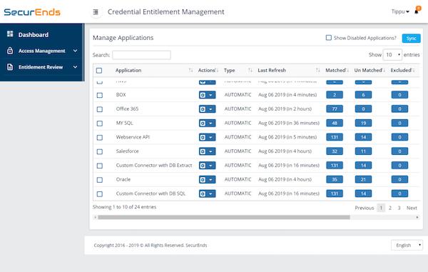 Manage application Dashboard