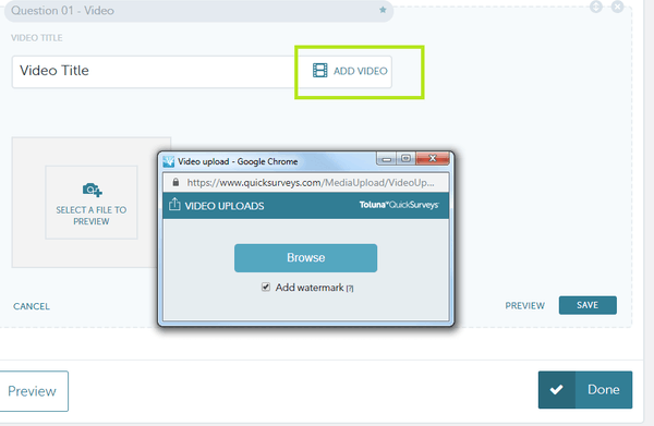 QuickSurveys media upload screenshot