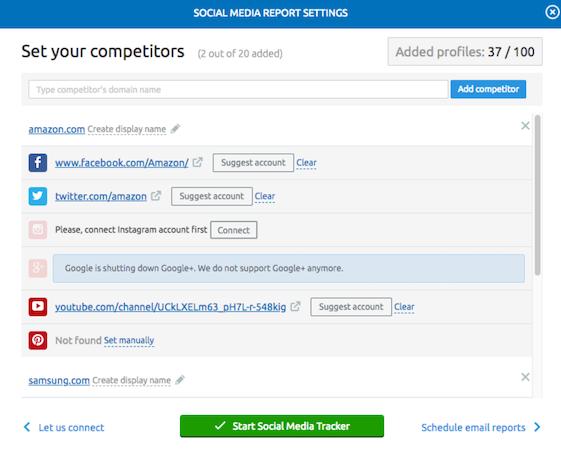SEMrush social media report settings