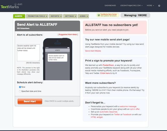 TextMarks send alerts screenshot