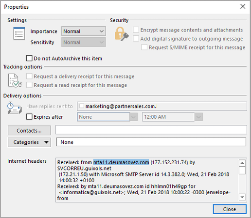 Bitdefender GravityZone e-mail sender blocking screenshot