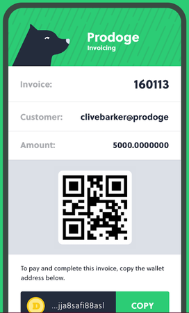 Prodoge sending invoices screenshot