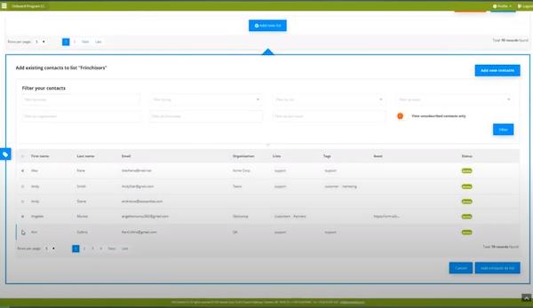 SeoSamba Email Marketing manage contacts
