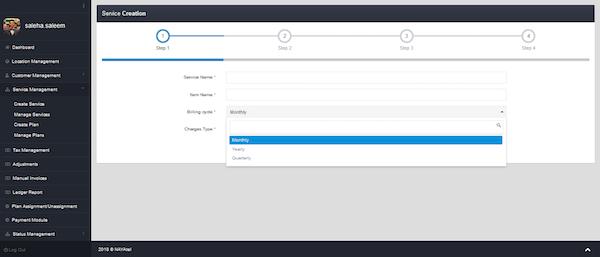 Telco Billing Solution service creation screenshot