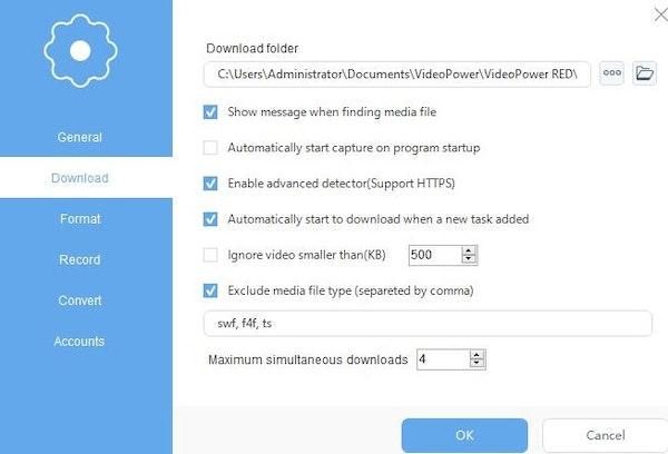 VideoPower RED downloads folder