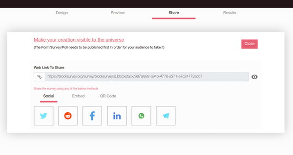 BlockSurvey sharing screenshot