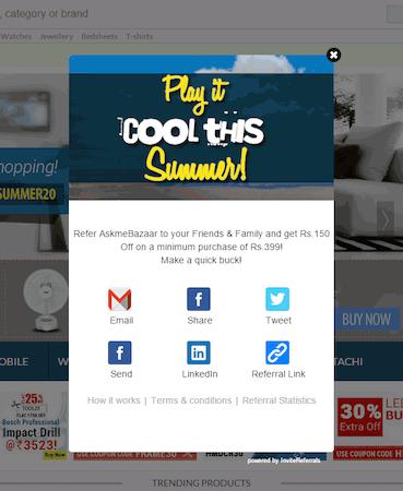 InviteReferrals social sharing screenshot