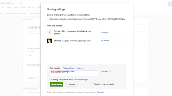 Google Forms sharing and access management