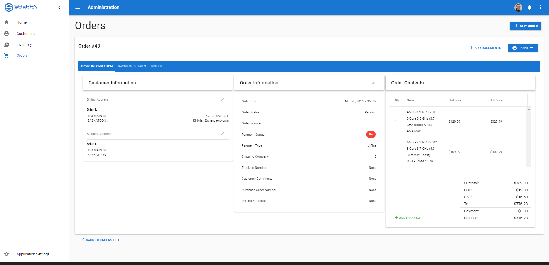 Order management dashboard