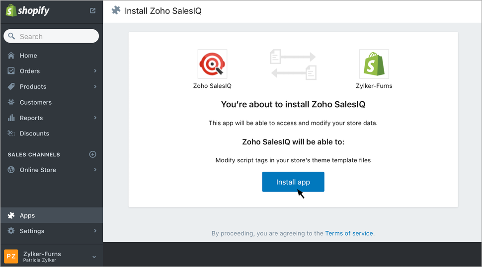 Zoho SalesIQ Shopify integration screenshot