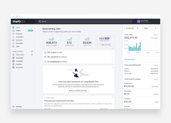 Shopify Plus admin page