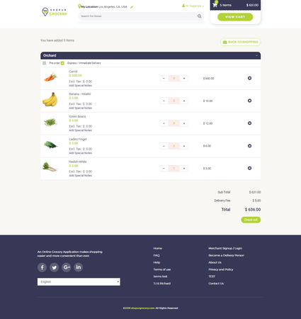 ShopurGrocery placing order