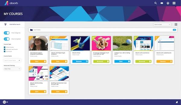 Absorb LMS courses screenshot
