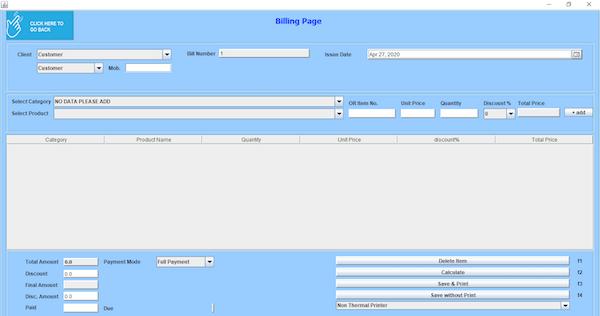 Shubhra Billing Management billing page