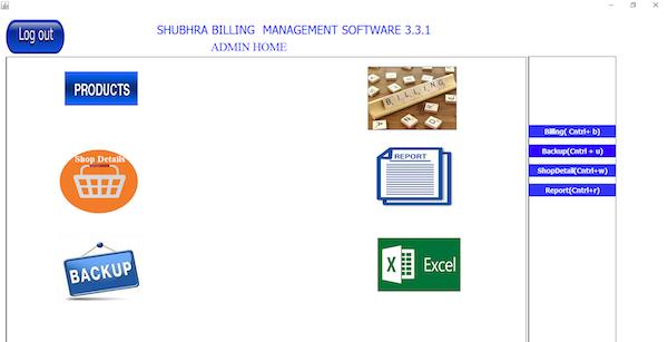Shubhra Billing Management main dashboard