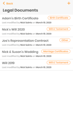 SideDrawer document list