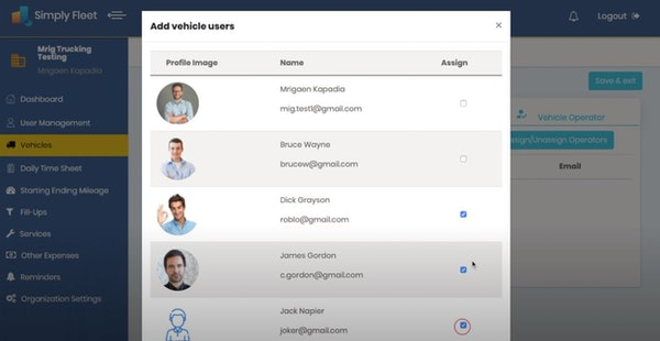 Simply Fleet add vehicle users
