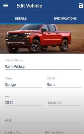 Simply Fleet edit vehicle information