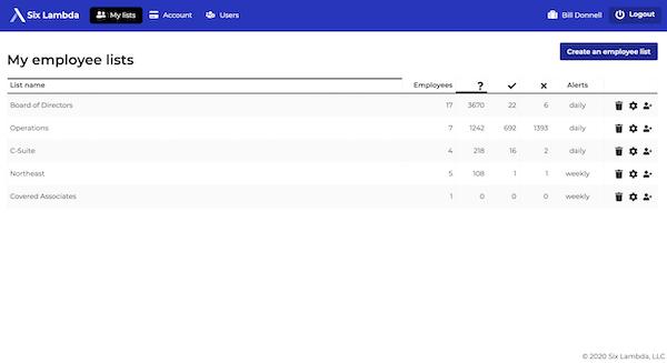 Six Lambda employee list screenshot