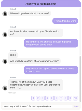 Hubert.ai anonymous feedback chat
