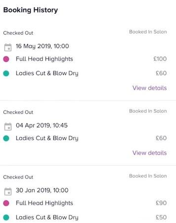 Slick booking history