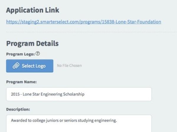 Smarter Select online application screenshot