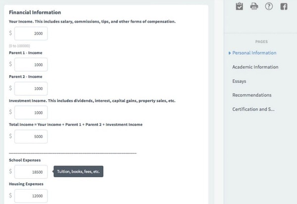 Smarter Select candidate financial details screenshot