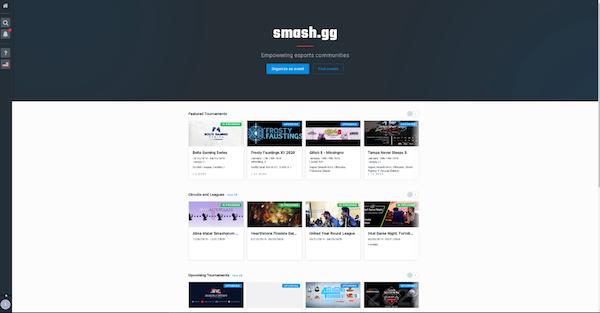 smash.gg main dashboard