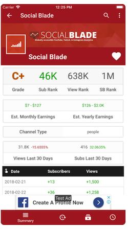 Social Blade account summary
