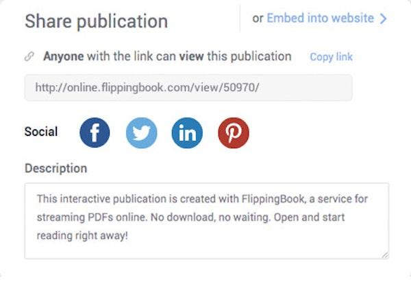 FlippingBook social sharing
