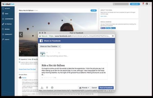 Bucketlist social sharing screenshot.