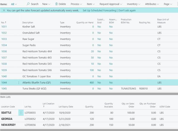 iNecta Lot Tracking per Item
