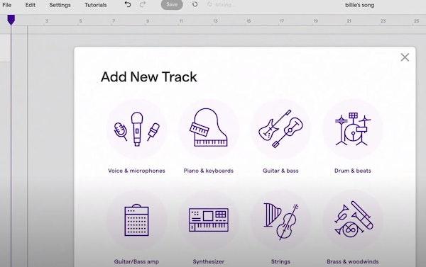 Soundtrap add new track