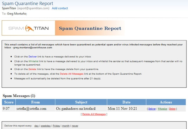 SpamTitan quarantine report screenshot
