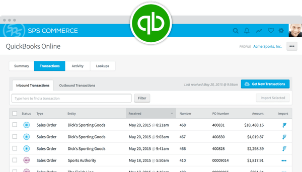 SPS Commerce quickbooks integration