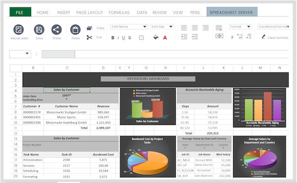Spreadsheet Server dashboard vector