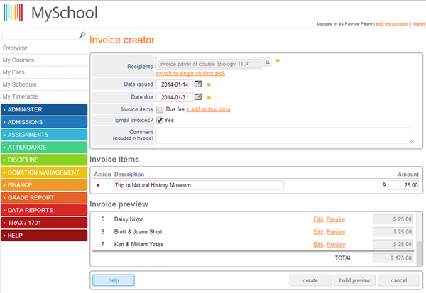 MySchool invoice creator screenshot