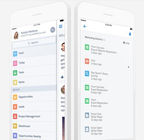Salesforce mobile interface