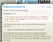PaperRater plagiarism detection