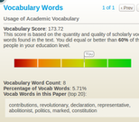 PaperRater vocabulary scoring